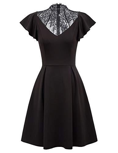 Women's Vintage Ruffle Cap Sleeve A Line Swing Cocktail Party Dress Black S