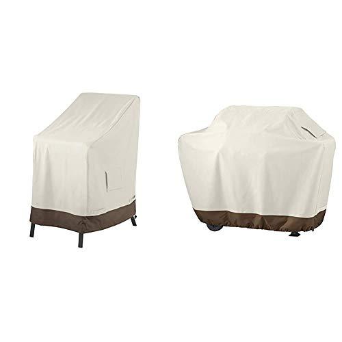 Amazon Basics Abdeckung für aufeinandergestapelte Gartenstühle & Grillabdeckung, Gurte mit Click-Verschluss, Gr. M