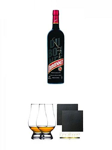 Ricard Dubonnet Pastis de Marseille Frankreich 0,7 Liter + The Glencairn Glas Stölzle 2 Stück + Schiefer Glasuntersetzer eckig ca. 9,5 cm Ø 2 Stück