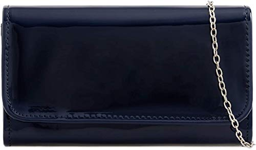 NLT LeahWard Damen Patent Flap Clutch Bag Geldbörsen Party Abendtaschen Handtasche, Navy 2223