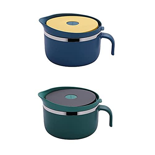 WSYGHP Contenedores de almacenamiento de alimentos fiambrera con tapa de acero inoxidable hermético, para niños y adultos, caja de bento azul y amarillo (color mix1, tamaño: 2 unidades)