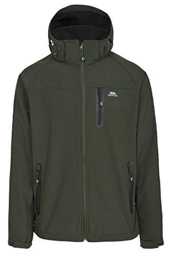 Trespass Accelerator II, Olive, M, Wasserdichte Softshelljacke mit abnehmbarer Kapuze für Herren, Medium, Grün