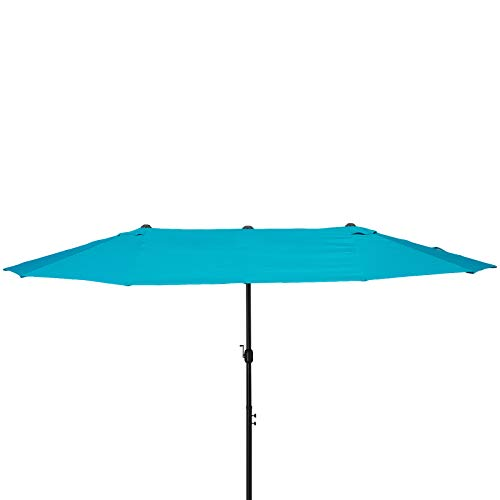 Outsunny 15' Steel Rectangular Outdoor Double Sided Market Patio Umbrella with UV Sun Protection & Easy Crank, Blue