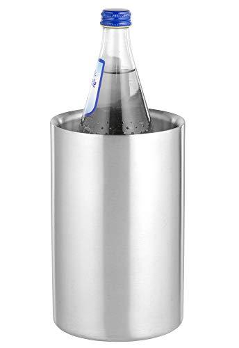 Flaschenkühler MIAMI aus Edelstahl, gebürstet, doppelwandig, Maße: Höhe ca. 19,5 cm, Durchmesser ca. 12 cm,