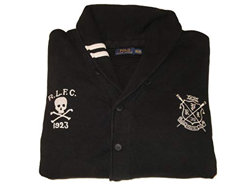 Ralph Lauren Polo Mens Big and Tall Shawl Collar Fleece Cardigan Sweater (3XB, Black)
