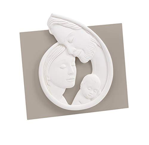 MAZZOLA LUCE Capezzale Quadro capoletto Sacra Famiglia Moderna Bianco Tortora per Camera da Letto Made in Italy