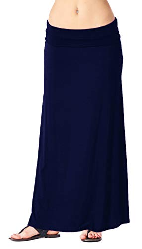 Popana Womens Long Maxi Skirt Casual Convertible Sundress Plus Size Made in USA Navy Large