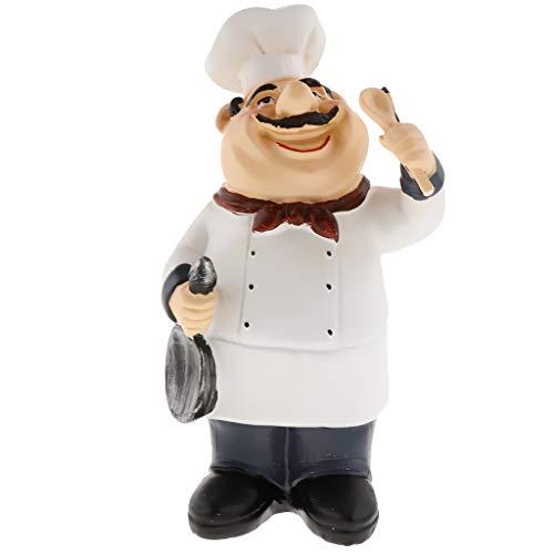 FLAMEER Italienischer Chef Koch Figuren Dekofigur Skulptur Sammelstück Wohnkultur - Größe-3