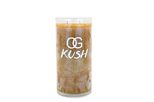 OG Kush Scented Candle - Spicy Patchouli, Lemongrass, Orange and Pine - 100% Natural Ingredient Long Lasting - Revitalizing Aroma - Hemp Wick Candle - Safe and Clean Burning