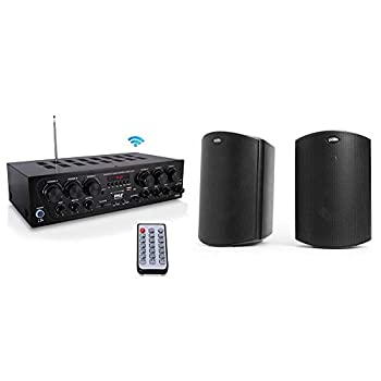 Bluetooth Home Audio Amplifier System - 6 Channel 750 Watt Wireless Home Audio Sound Power Stereo Receiver & Polk Audio Atrium 4 Outdoor Speakers with Powerful Bass All-Weather Durability