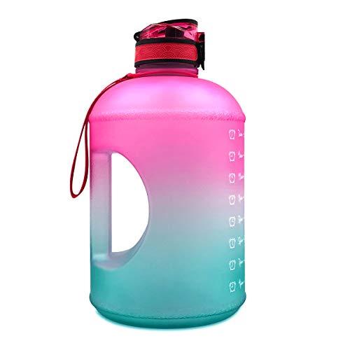 Botella de agua de 1 galón con asa y tapa abatible, marcador de tiempo, motivador, a prueba de fugas (gradiente rojo-verde)