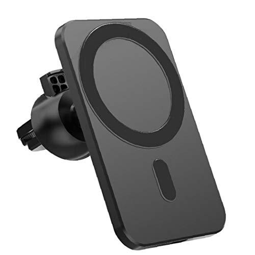 Tuimiyisou Aptas para el iPhone 12 Pro Mini MAX Cargador MagSafe magnético sin Hilos sin Hilos del Coche Monte Negro Soporte de reemplazo