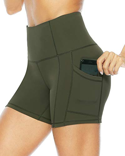 Persit Yoga Shorts for Women with Pockets High Wasited Running Athletic Biker Workout Shorts Tight Gym Shorts Yoga Pants - Army Green - M
