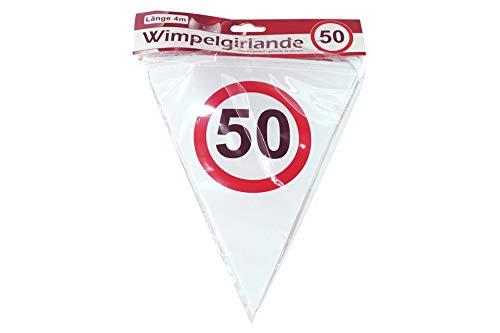 KMC Austria Design Wimpelgirlande 50 - 4m lang - DEKO zum 50. Geburtstag - Papierwimpel Bedruckt mit Verkehrsschild Zahl 50