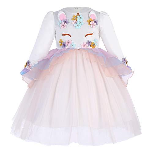 Vestido de Princesa Unicornio de Verano para Nias Vestido Infantil PlisadoFiesta Nia Disfraz de Cosplay Traje Falda Cumpleaos 003 Albaricoque(1PC) 11-12 aos