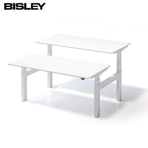 bümö Bisley Varia ergonomischer Sitz & Stehschreibtisch | Schreibtisch elektrisch höhenverstellbar | höhenverstellbarer Büroschreibtisch | Stehtisch ergonomisch in Doppelschreibtisch 180 x 80 cm