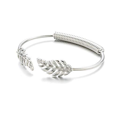 DSBN Pulsera Grecia Romántico Arroz Hoja De Spike Pulseras Y Brazaletes De Oro Y Plata Brazalete Abierto para Mujeres Regalo Cuff Bracelet02