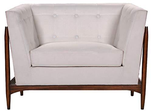 Casa Padrino sillón de salón Art Deco de Lujo Blanco/marrón Oscuro 113 x 78 x A. 83 cm - Muebles de Salón Art Deco - Calidad de Lujo