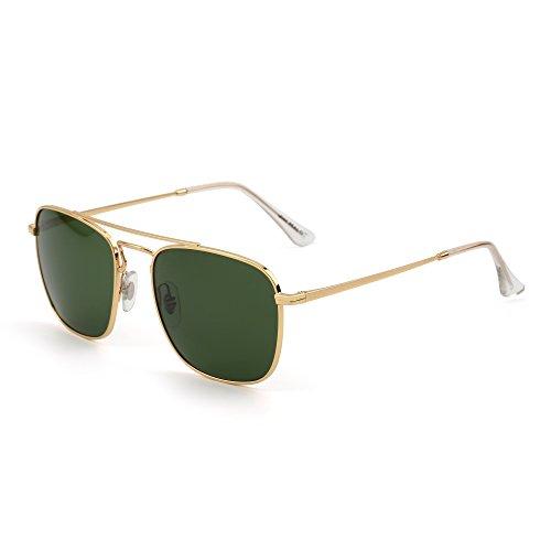 JIM HALO Gafas de Sol Retro Aviador Cuadradas Lente de Vidrio de Plano Metal Anteojos Hombre Mujer(Dorado/Verde)