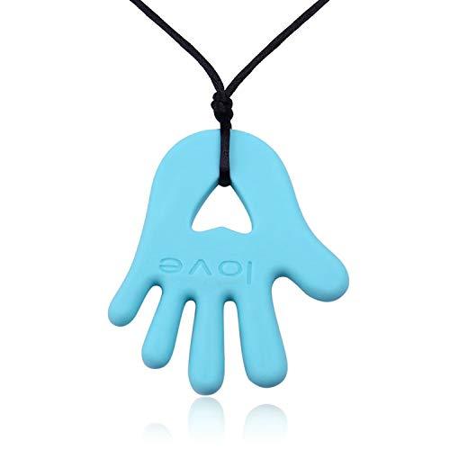 Epinki Damen Halskette Silikon Hand Anhänger Beißringe Schnuller Hell Blau