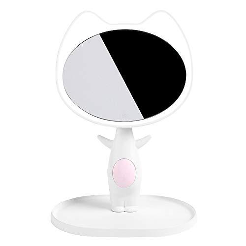 Jian E-& Rechargeable LED Maquillage Miroir Lampe Saint Valentin Cadeau pour Petite Amie à Envoyer Femme Cadeau d'anniversaire Cadeau de Mariage Fille (Couleur : Blanc)