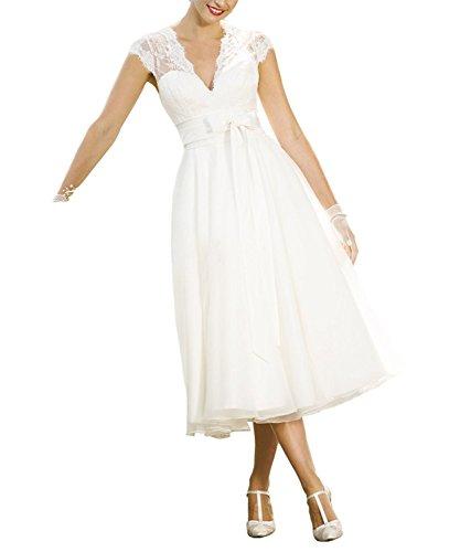 Aurora dresses Damen Hochzeitskleider Spitze V-Ausschnitt Brautkleid Teelänge Brautjungferkleider(Elfenbein,44)