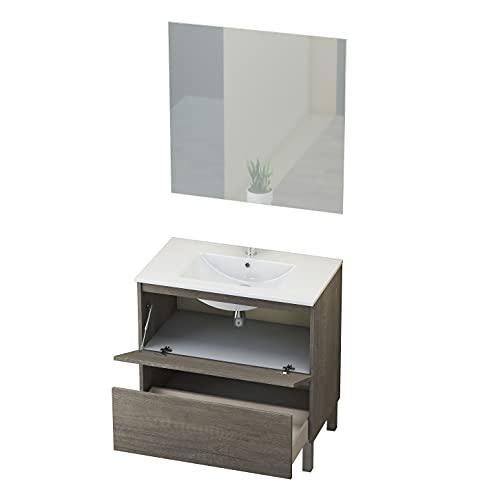Baikal Conjunto Mueble de Baño con Espejo y Lavamanos Cerámico, de una Puerta y un Cajón, Melamina 16mm, Nebraska, 60 X 46...