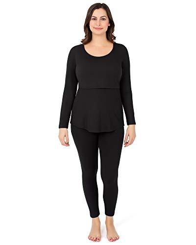 Kindred Bravely The Jane Maternity & Nursing Thermal Pajamas (Black, Medium)