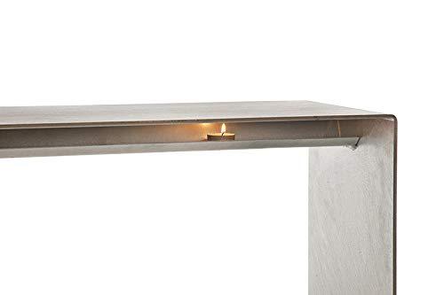 Raumgestalt Wärmebank aus Stahl verzinkt mit Teelichtern