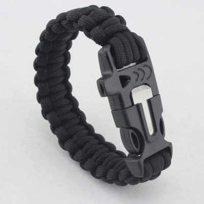 YunJiadodo Army-Pfeife Paracord-Schnalle Outdoor Camping Wandern Survival Armband Lebensretter Armband geflochtenes Seil Armband (schwarz)