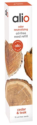 ALIO Oil-Free Reed Refill, Odor Neutralizing - Cedar & Teak - Set of 15
