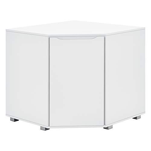 [en.casa] Eckschrank Eckkommode Wohnzimmerschrank 76,5 x 78 x 78 cm Büroschrank mit Ablage weiß
