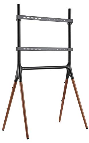 "Displays2go Sawhorse Artistic TV Stand, 49"" - 70"", Wooden Legs – Black/Walnut (ARTTV70B)"