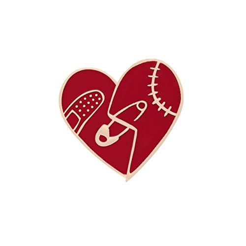 Broches de esmalte en forma de corazón, broches de globo de botella de vino, insignia, taza de Pizza, camisa vaquera, Pin de solapa, joyería de moda para mujer y niña, regalo-corazón