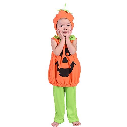 HBBMAGIC Kürbis Kostüm Kinder Halloween Kostüm Mit Kapuze Karneval Fasching Kostüme für Unisex Kinder 3-5 Jahre