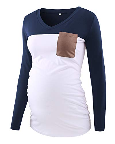 Ecavus Women's Casual Maternity Tops Long Sleeve V Neck Colorblock Pregnancy T-Shirt with Pocket Navy
