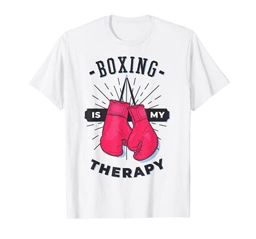 Boxeo Es Mi Terapia Amante Deportivo Entrenador Divertido Boxer Chica Camiseta