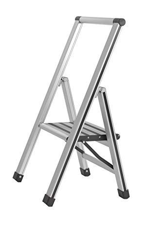 WENKO Alu-Design Klapptrittleiter 1-stufig Silber - rutschfeste Haushaltsleiter, Sicherheits-Stehleiter, Aluminium, 44 x 74 x 5.5 cm, Silber matt