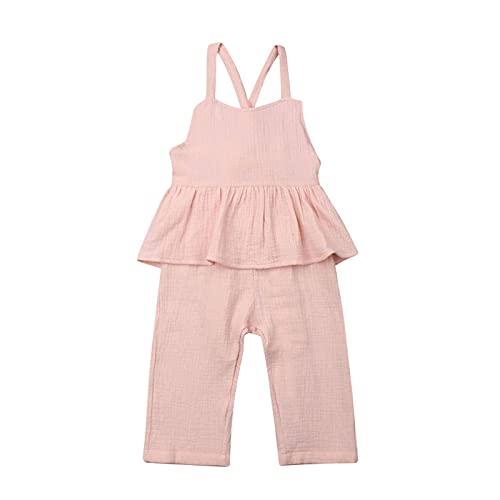 Conjunto Ropa Algodón para Niñas Y Bebés Sin Mangas Sin Espalda Mameluco Camiseta Mono Pantalones Pierna Ancha Pantalones Trajes