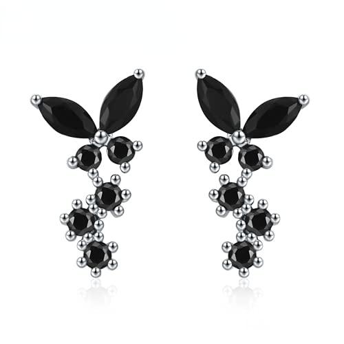 Pendientes de tuerca de plata de ley 925 con diseño de mariposa, color negro
