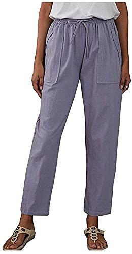 Lazutom Pantalones de playa de verano con cordón de cintura casual de algodón de lino y verano para mujer