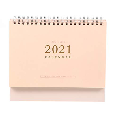 Tomaibaby 2021 Calendario Calendario Autoestable Minimalista Bobina Espiral Planificador Bloc de Notas de Mesa Recordatorio de La Agenda Suministros de Papelería para Niños Adultos Rosa