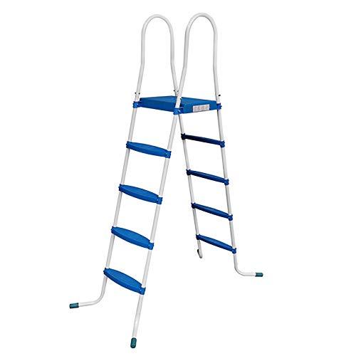 RAMROXX 39420 Poolleiter Pool Swimmingpool Leiter mit 4 Stufen Plattform Blau universal 132cm