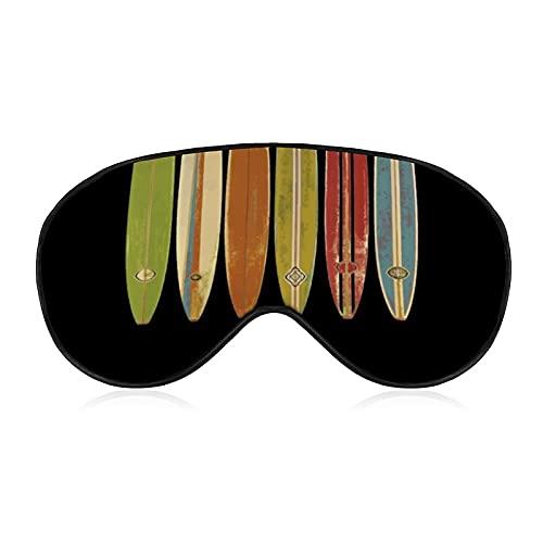 Augenmaske, Augenbinde, 3D-konturierte Schlafmaske, lichtblockierende Augenbinde, Plüsch-Schlafmaske, Reise-Augenblinder für Damen und Herren, Longboard-Surfbretter, Vintage-Retro-Stil, Surfen