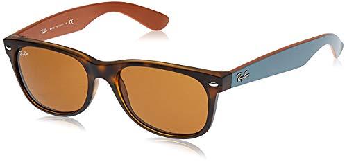 Ray-Ban Unisex New Wayfarer Sonnenbrille, Mehrfarbig (Gestell: Havana/Grau, Gläser: Braun Klassisch 6179), Large (Herstellergröße: 55)