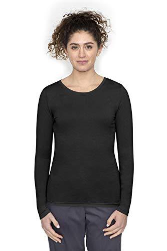 healing hands Scrubs Melissa 5047 Knit Long Sleeve Underscrub Tee Shirt- Black- S