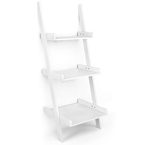 Giantex Ladder Shelf 3-Tier Wall-Leaning Bookshelf Ladder Bookcase Storage Display Shelf for Home and Office, Multipurpose Plant Flower Stand Shelf, White
