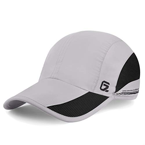 GADIEMKENSD Quick Dry Sports Hat Lightweight Breathable Soft Outdoor Running Cap Baseball Caps for Men (Light Gray)