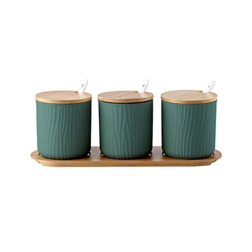 UPKOCH condimento tarro de especias ollas de cerámica con tapa cuchara bandeja de madera para cocina doméstica