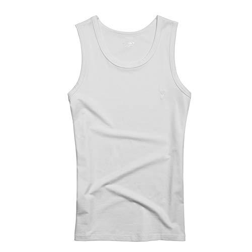 Baumwolle Tank top Herren Tanktops, Schlank Und Weich, Atmungsaktiv, Ärmelloses Top, Fitness-Sweatshirt, Eng Anliegendes Sport-Leibchen (Farbe : Weiß, größe : XL)